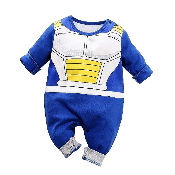 21f46689b6cc76 Yierying Baby Clothes Newborn Vegeta Jumpsuits Baby Lovely Long Sleeve  Cartoon Romper Blue