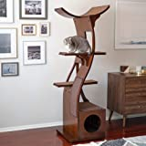 THE REFINED FELINE Lotus Cat Tower Furniture, Multi-Level Cat Tree with Scratching Pad, Perches, House to Climb, Play, Relax