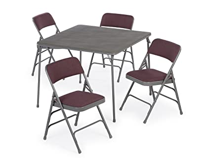 XL Series Folding Card Table And Fabric Padded Chair Set (5pc)    Comfortable Padded