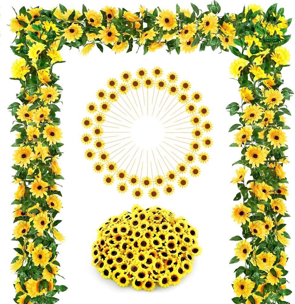 Auihiay Sunflower Wedding Decorations with 2 Artificial Sunflower Garland,100 Silk Sunflower Heads, 48 Sunflower Cupcake Toppers for Home Wedding Baby Shower Decoration