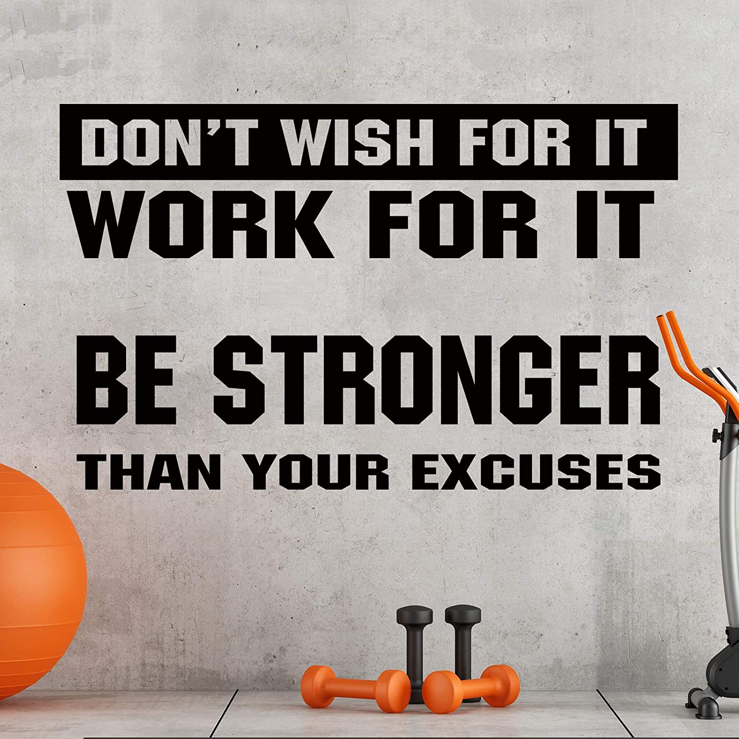 2 Pieces Gym Wall Decal Motivational Vinyl Wall Decals Be Stronger Than Your Excuses Sticker Don't Wish for it Work for it Large Gym Wall Quote Home Decor Stickers for Home Gym Yoga Exercise Fitness
