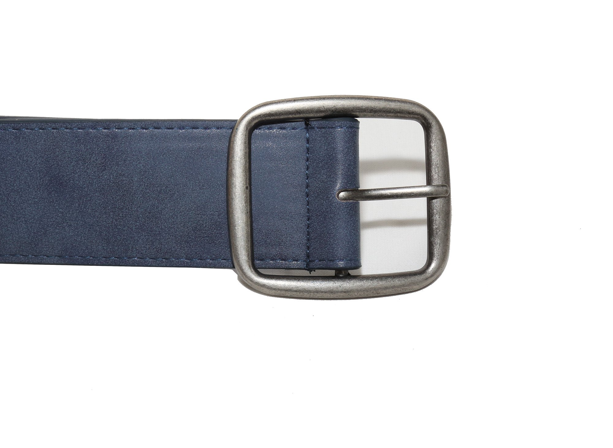 Modeway Women 2'' Wide Suede Leather Silver Square Buckle Adjustable Waist Belts (S-M, Navy-4#) by Modeway (Image #7)