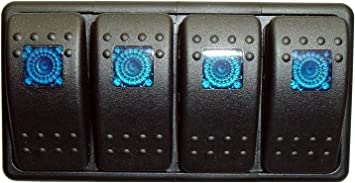 Marine Grade Bank Switch Panel 3 switches and 1 switch panel 3 Switch Covers