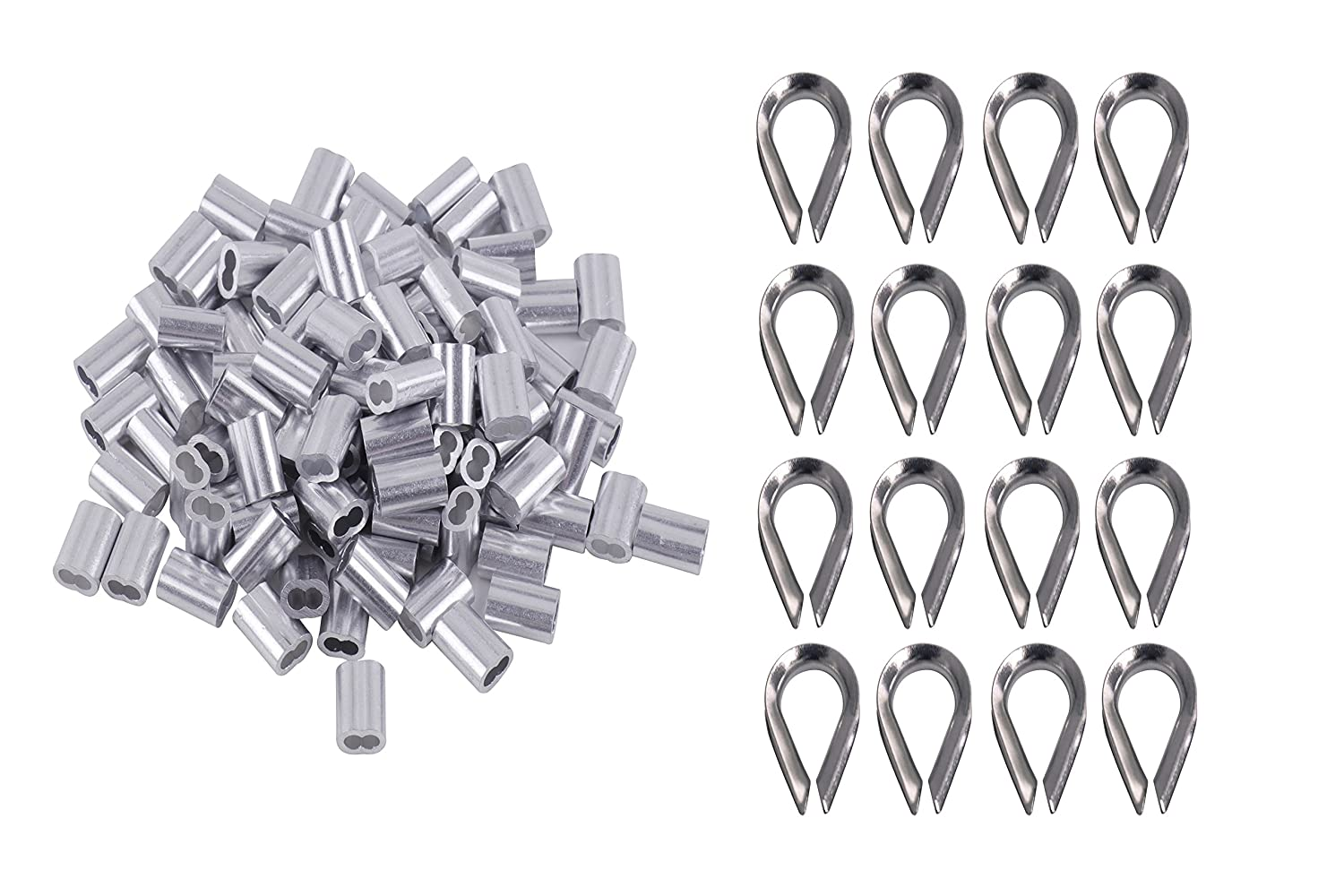Stainless Steel Wire Rope Cable Thimbles Kit for Wire Rope Cable Thimbles Rigging for/Sale Allgreen Double Barrel Ferrule Diameter Wire Rope 1//8 Inch