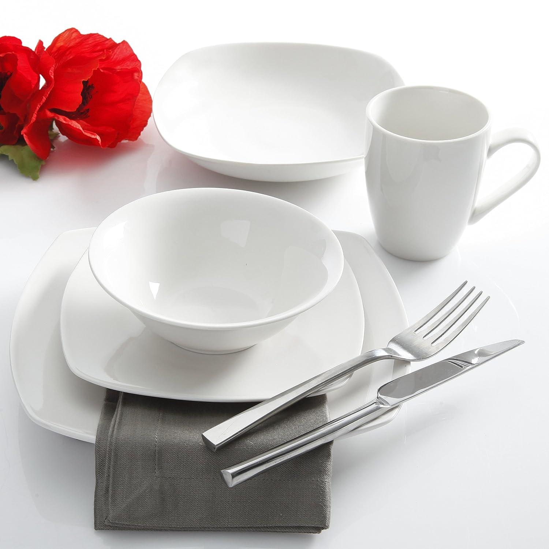 Square Dinnerware Set 30 Piece Dish Set White Contemporary Square Dishes for the Home Amazon.co.uk Kitchen \u0026 Home & Square Dinnerware Set 30 Piece Dish Set White Contemporary ...