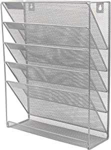 PAG Hanging Wall File Holder Mail Sorter Magazine Rack Office Supplies Metal Mesh Desk Organizer, 6 Tier, Silver
