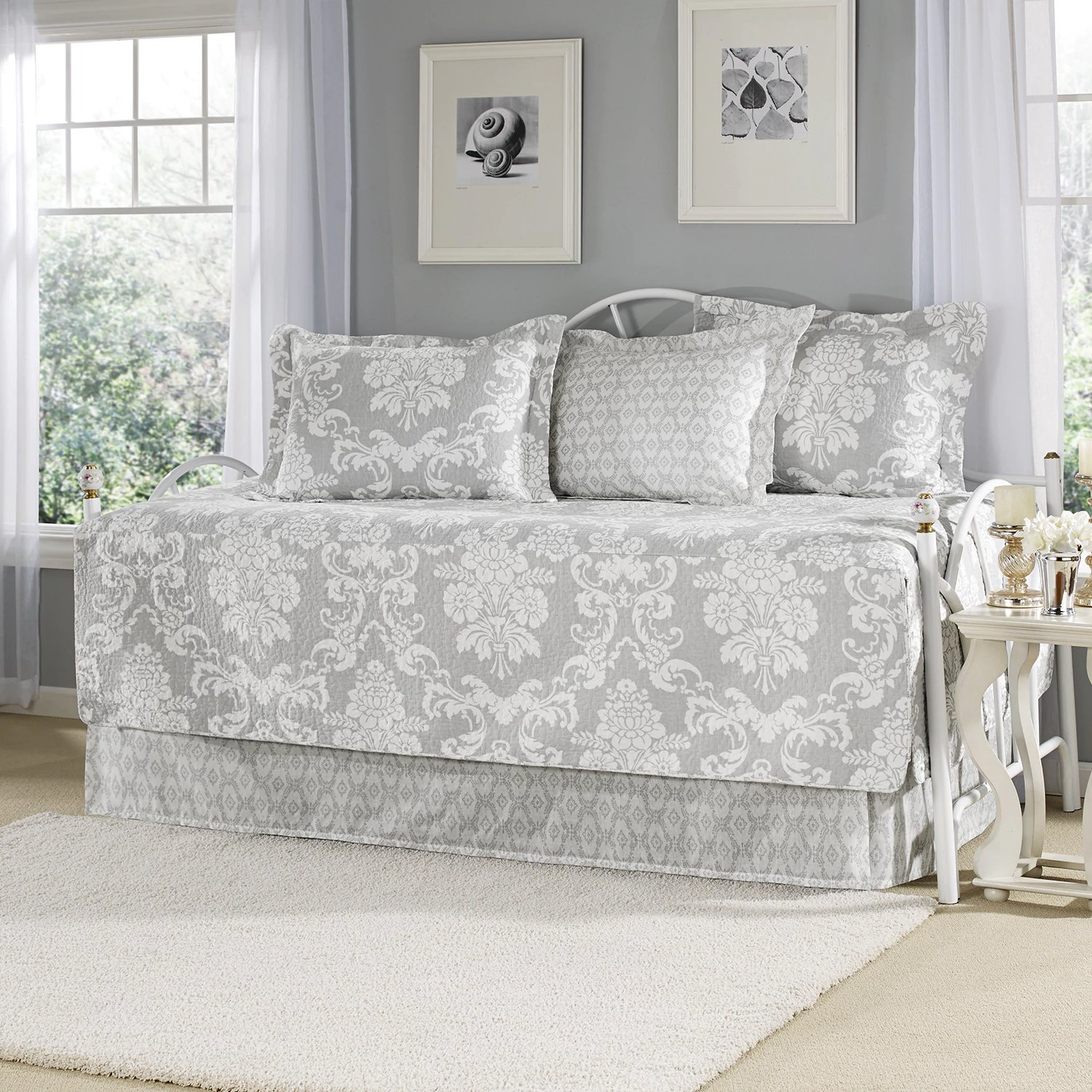 Grey Cotton Floral Printed, 5-piece Daybed Set and Traditional Style Included Cross Scented Candle Tart
