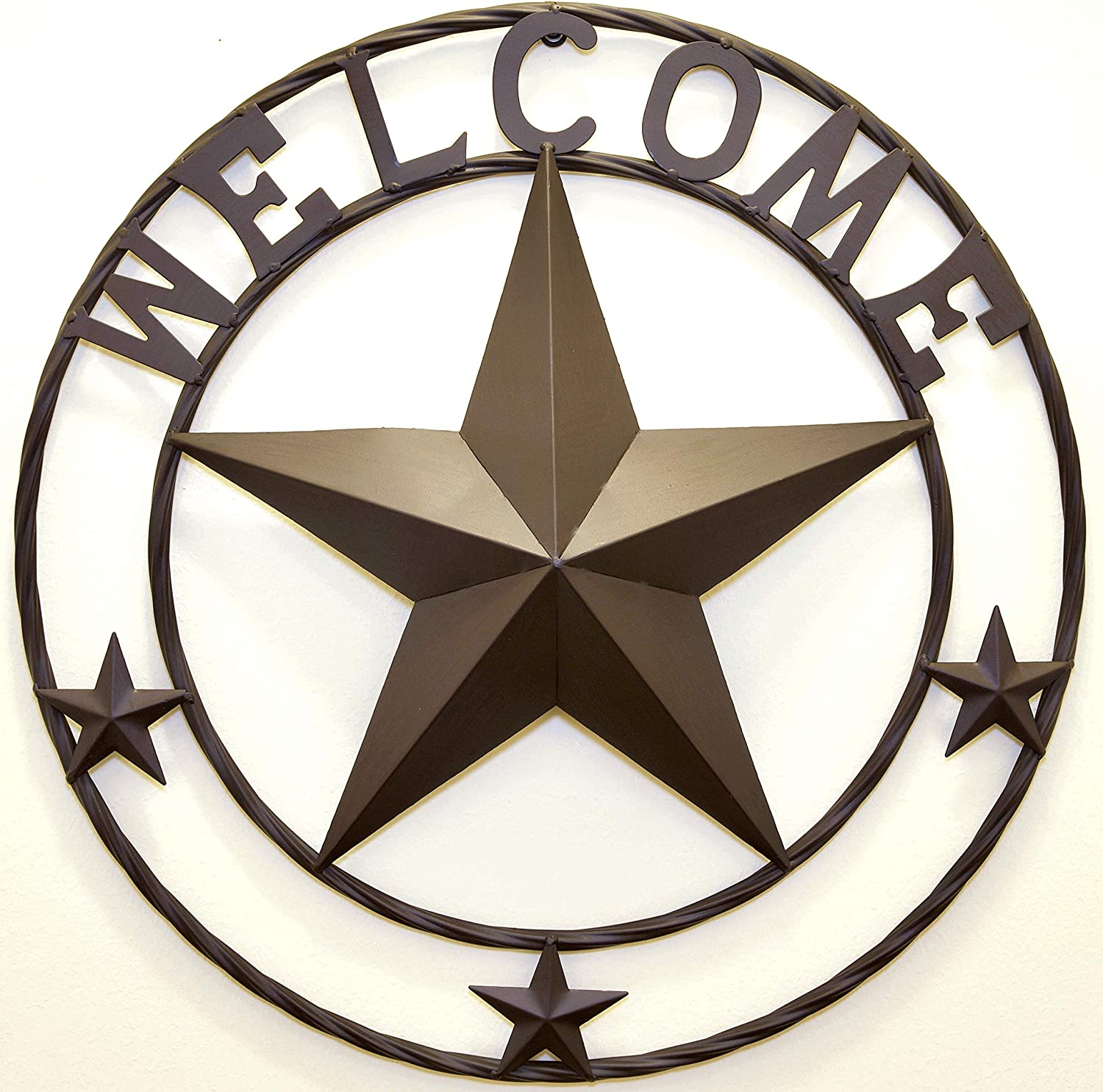 "BestGiftEver Metal 24"" Welcome with Stars Circle Wall Hanging Decoration - Metal Star Outdoor Decor"