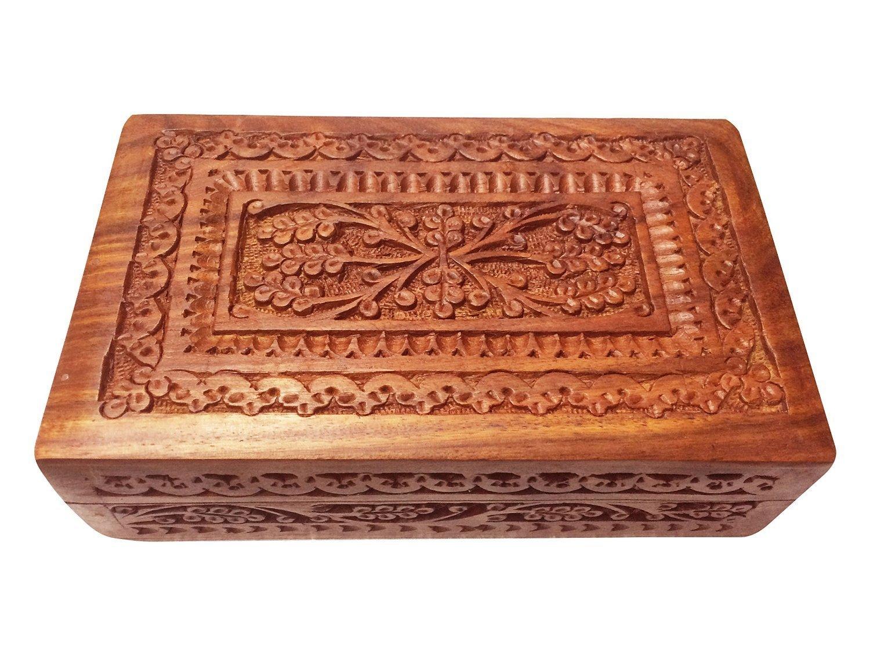 Boîte à découper en bois, boîte de rangement, boîte Vintage, boîte à bijoux souvenir en bois, bijou boîte de bijoux, couleur marron taille 7 X 5 pouces, jour de Pâques / fête des mères / cadeau de vendredi bon Khandekar (with device of K)