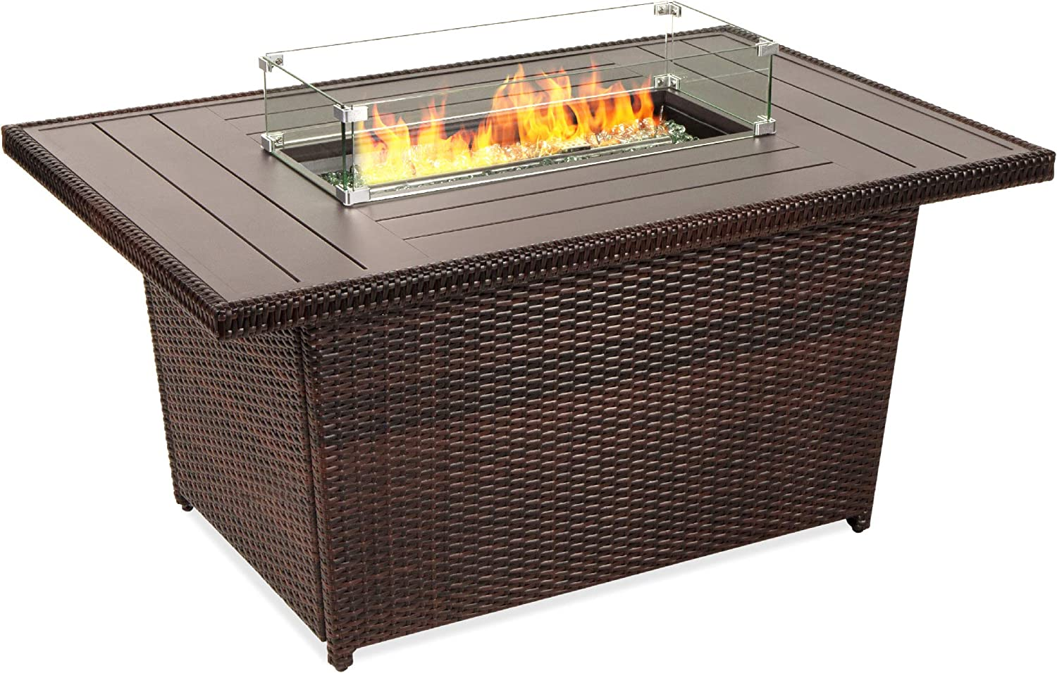 Amazon Com Best Choice Products 52in 50 000 Btu Outdoor Wicker Patio Propane Gas Fire Pit Table W Aluminum Tabletop Glass Wind Guard Clear Glass Rocks Cover Slide Out Tank Holder And Lid