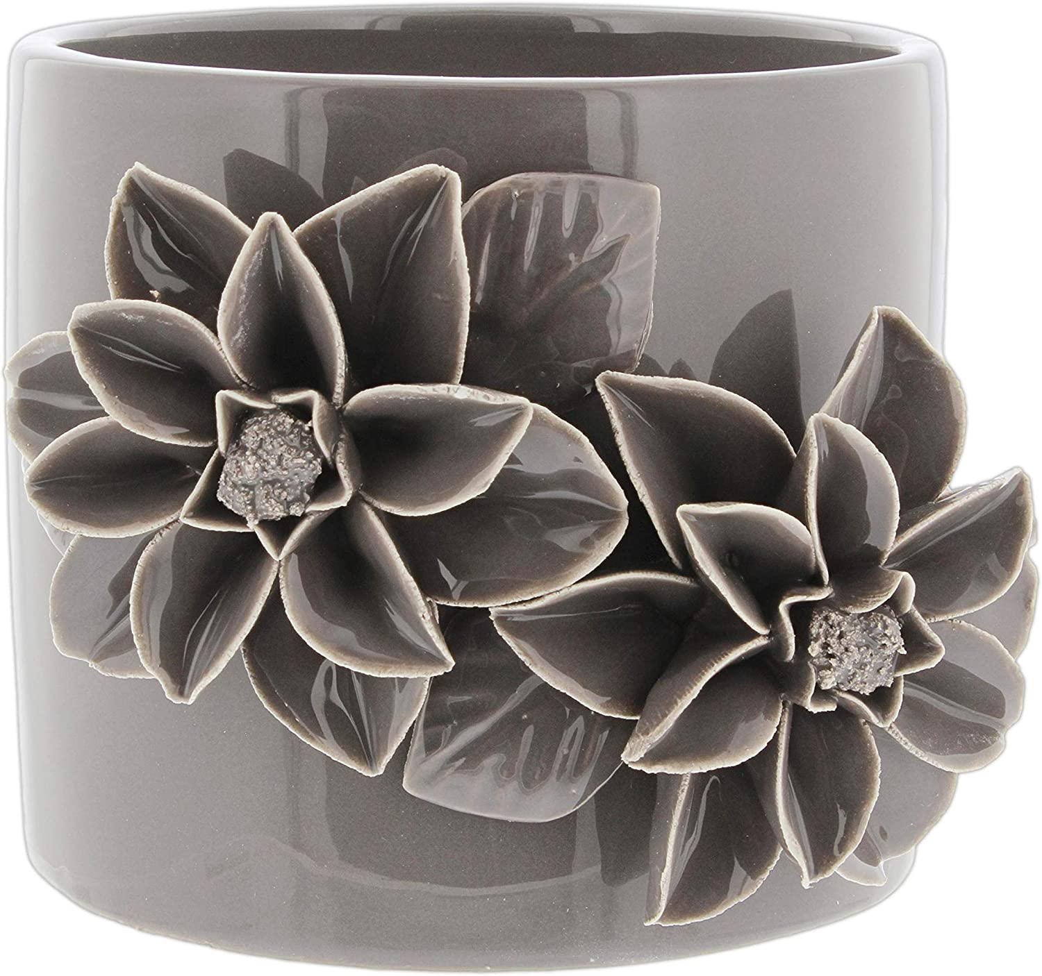 Napco Ceramic Planter with Pop Out Flower Design, 4.5 Grey