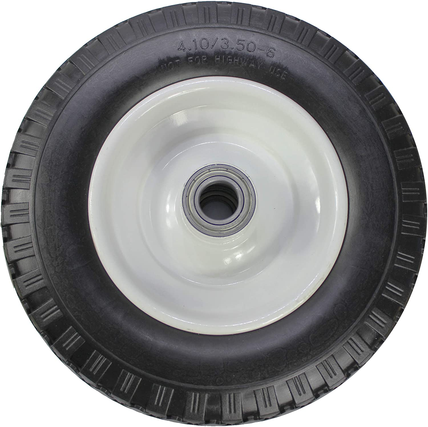 "MaxxHaul 50502 Trailer Dollies, Hand Trucks, Garden Carts 4.10/3.50-6"" Flat Free Solid Polyurethane All-Purpose Replacement Tire, Black"