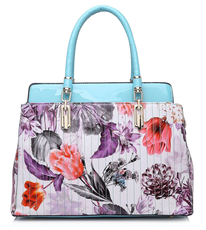 Big Handbag Shop Patent Effect Floral Print Multi Pocket Satchel Shoulder Bag