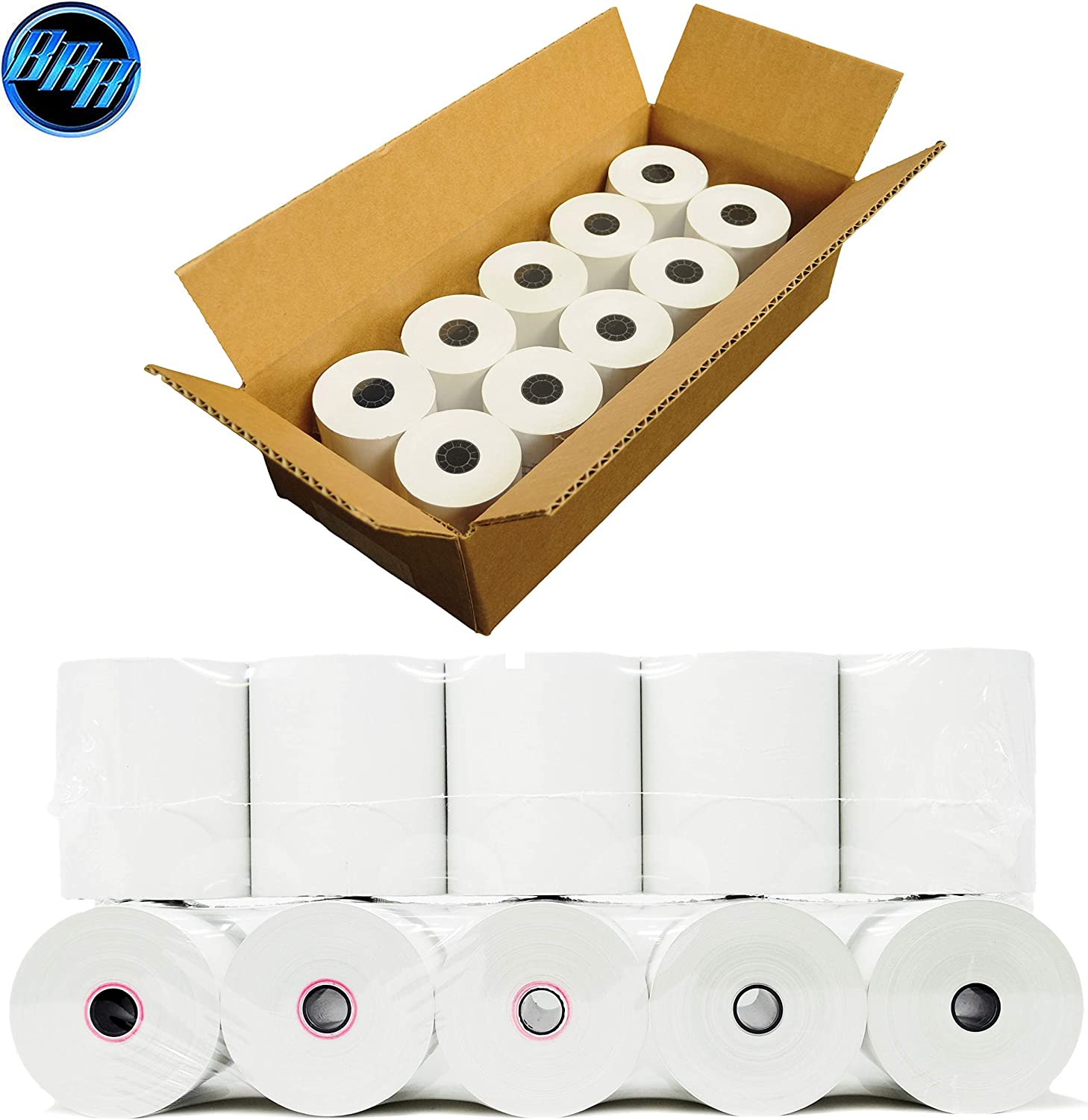 12 Pack Square POS Register Thermal Receipt Paper Rolls Made in USA BPA FREE 3-1//8 inches x 230ft