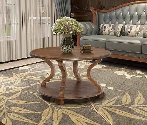 Editors' Choice: FINECASA Wood Coffee Table,Round Coffee Table Living Room