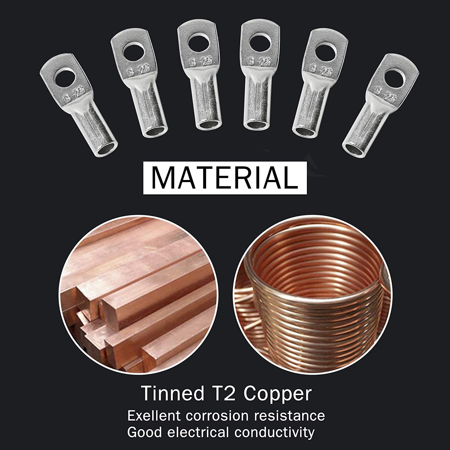 AIRIC 10PCS 4 Gauge 1//4 Stud DIN 46235 Cable Lugs Heavy Duty Tinned Copper Tubular Lugs Ring Terminal Connectors