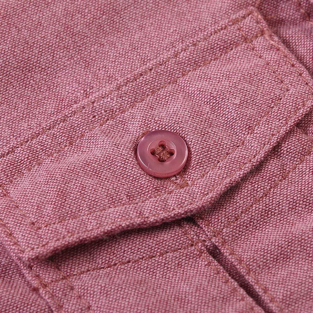 Aeslech stile casual in cotone con bottoni Camicia da ragazzo a maniche lunghe