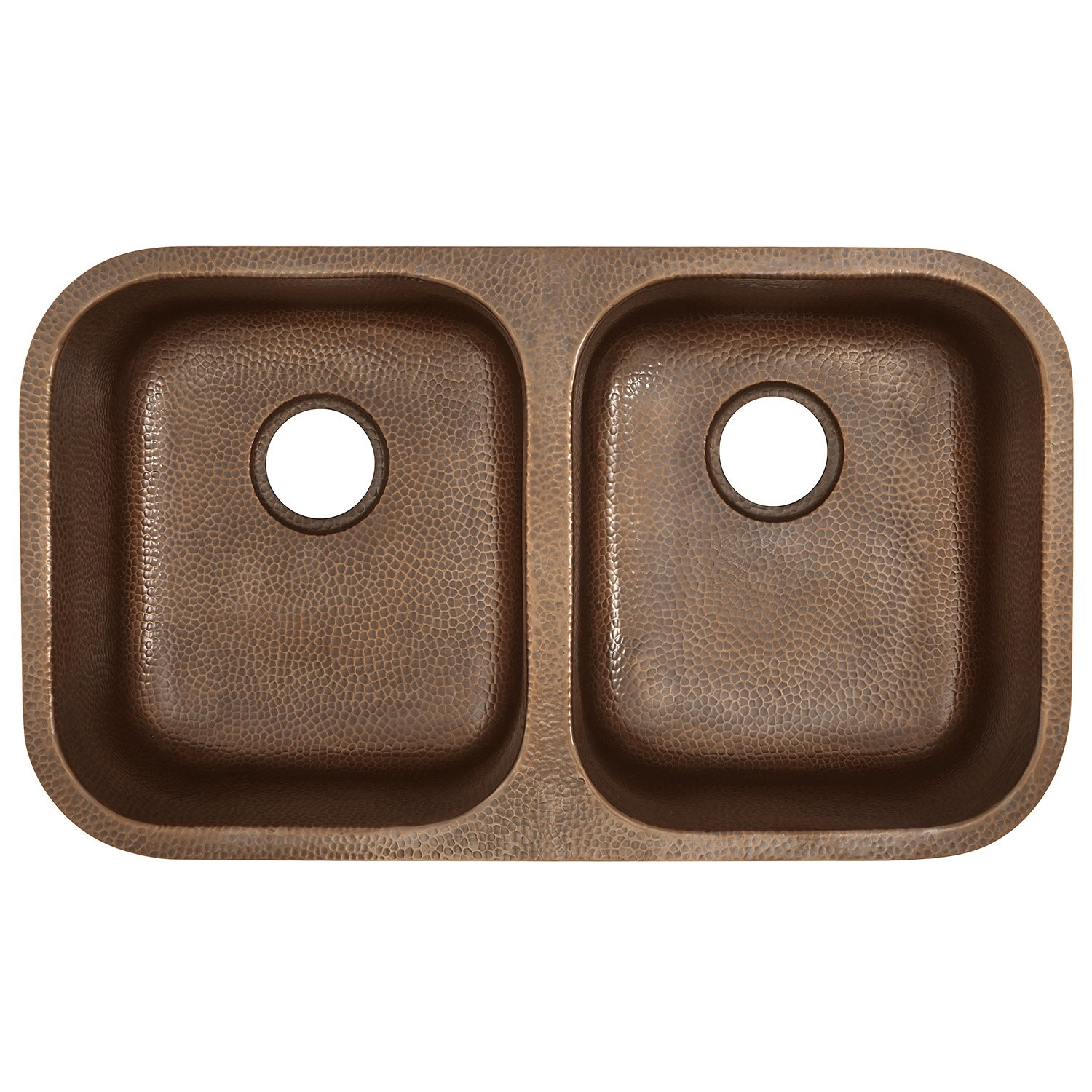Sinkology SK205-32AC Kandinsky Undermount Handmade Pure Solid Double Bowl Kitchen Sink, 32-1 4 , Antique Copper