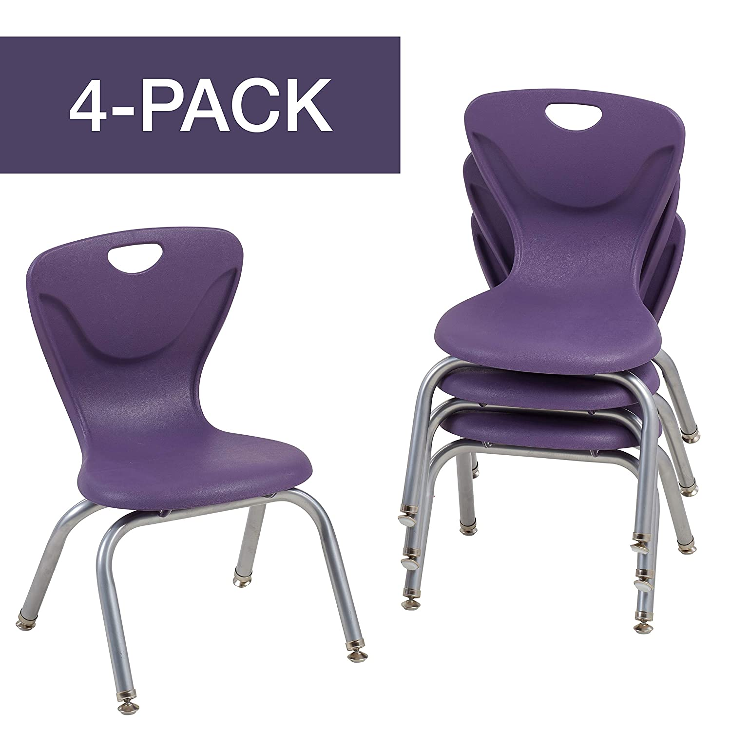 "FDP 12"" Contour School Stacking Student Chair, Ergonomic Molded Seat Shell with Chromed Steel Frame and Swivel Leg Glides; for in-Home Learning or Classroom - Eggplant (4-Pack)"