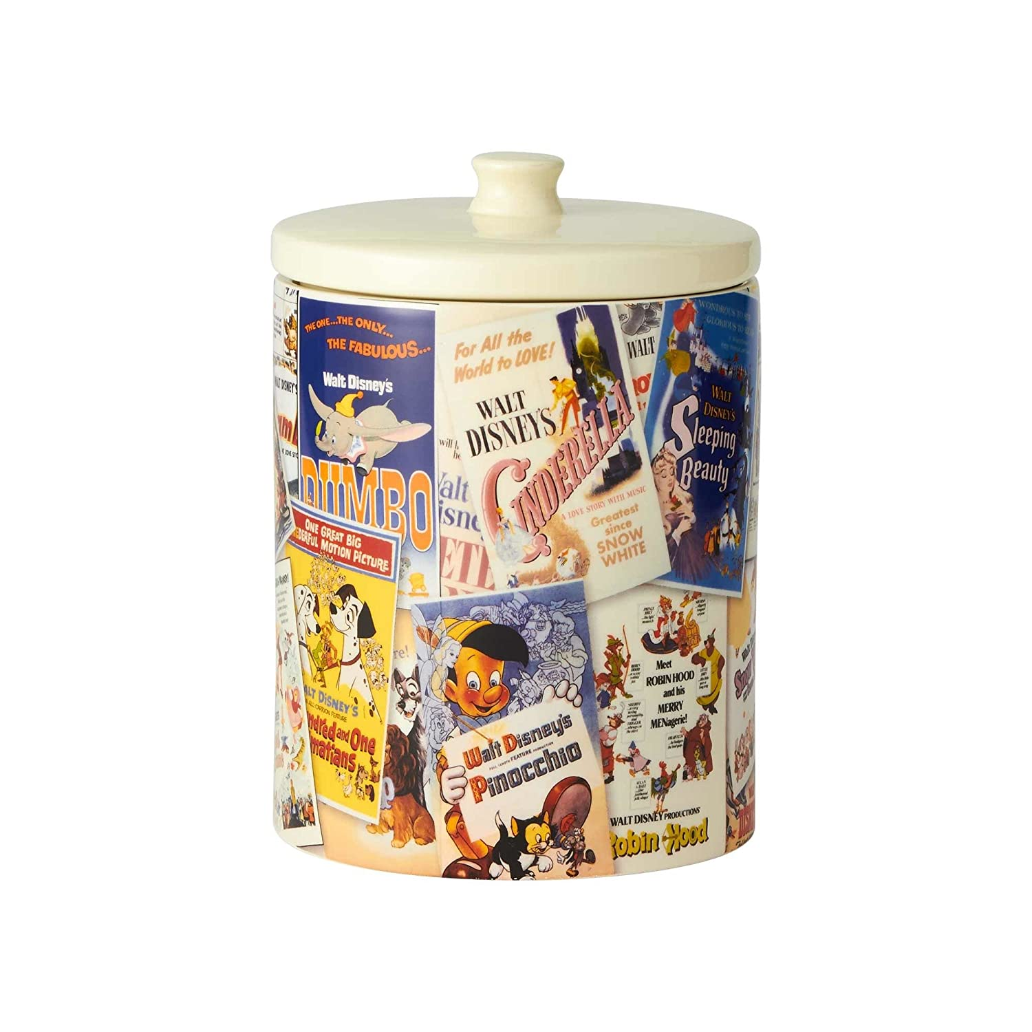 Enesco 6001023 Ceramics Classic Disney Film Posters Cookie Jar Canister, 9.25 Inch, Multicolor