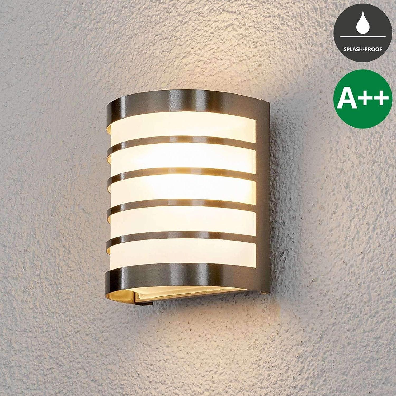 Wandlampe f/ür Outdoor /& Garten spritzwassergesch/ützt in Alu aus Edelstahl Wandlampe Au/ßenlampe Modern Lampenwelt Wandleuchte au/ßen Calin 1 flammig, E27, A++ - Au/ßenwandleuchten
