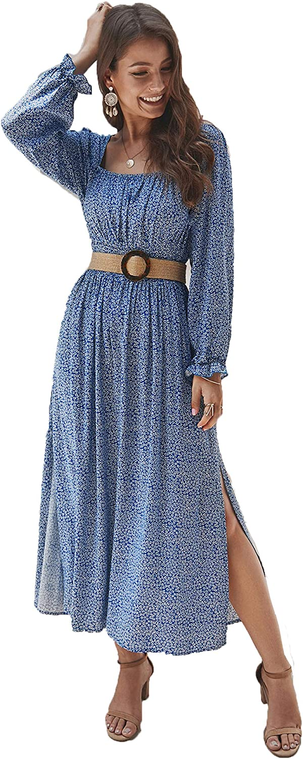 Cottagecore Dresses Aesthetic, Granny, Vintage KANCY KOLE Womens Smocked Waist Dress Long Sleeve Ruffle Long Maxi Dress with Side Split S-XXL $24.99 AT vintagedancer.com
