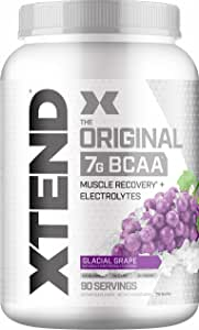 XTEND Original BCAA Powder Glacial Grape   Sugar Free Post Workout Muscle Recovery Drink with Amino Acids   7g BCAAs for Men & Women   90 Servings