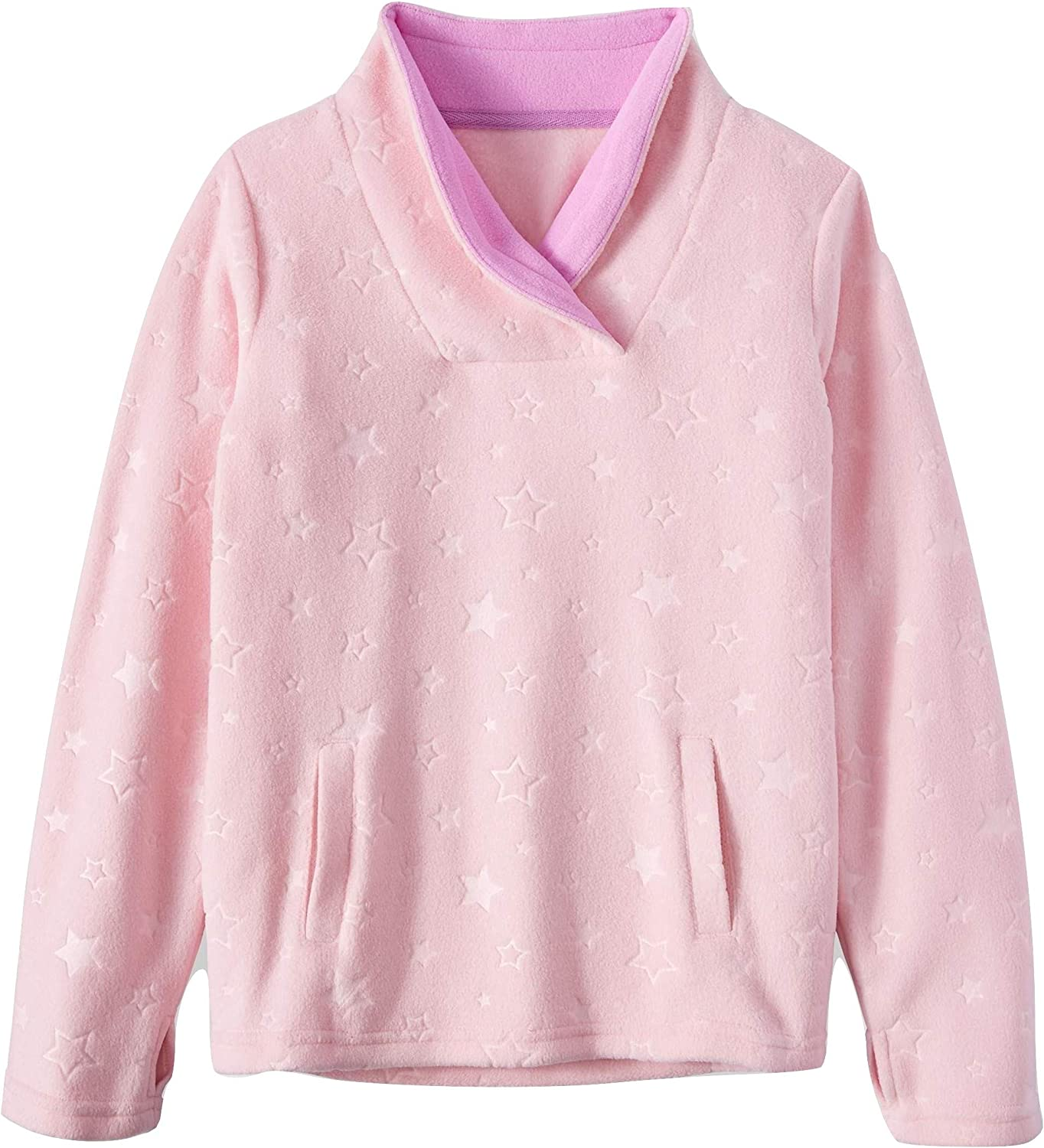 Athletic Works top Girls Size L 10-12 Microfleece Pullover Long Sleeves Pink