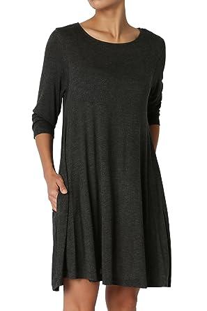 05fe62d6a7e TheMogan Women s 3 4 Sleeve Pocket Swing Flared Tunic Mini Dress Charcoal S
