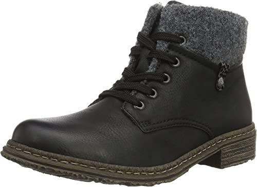 Rieker Boots Stiefelette Gr 39 schwarz gefüttert Schnürboots Schuhe