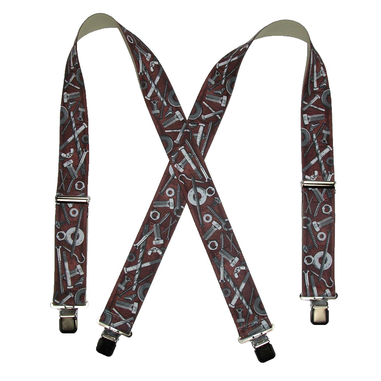 CTM Men's Elastic Clip-End 2 Inch Nuts & Bolts Medley Suspenders, Black SF-UA250N-HDWE-BLK