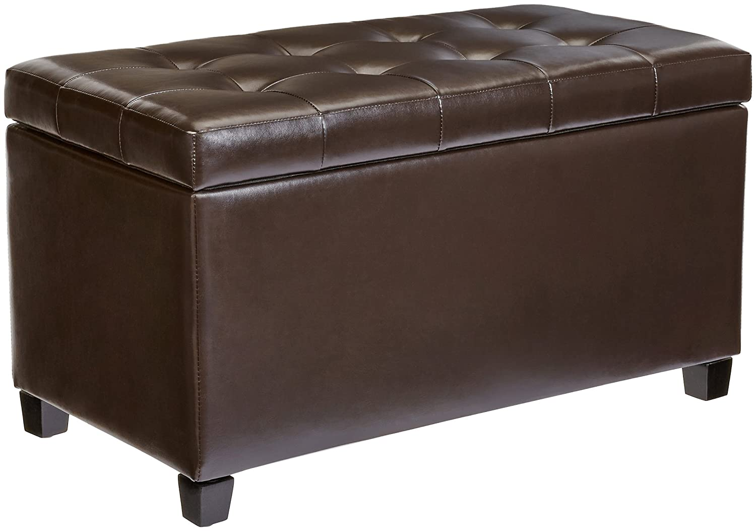 First Hill Matteo Faux-Leather Rectangular Storage Ottoman, Dark Chocolate LTD WFO102BBR