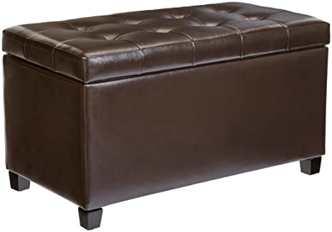 Awe Inspiring First Hill Matteo Faux Leather Rectangular Storage Ottoman Dark Chocolate Short Links Chair Design For Home Short Linksinfo