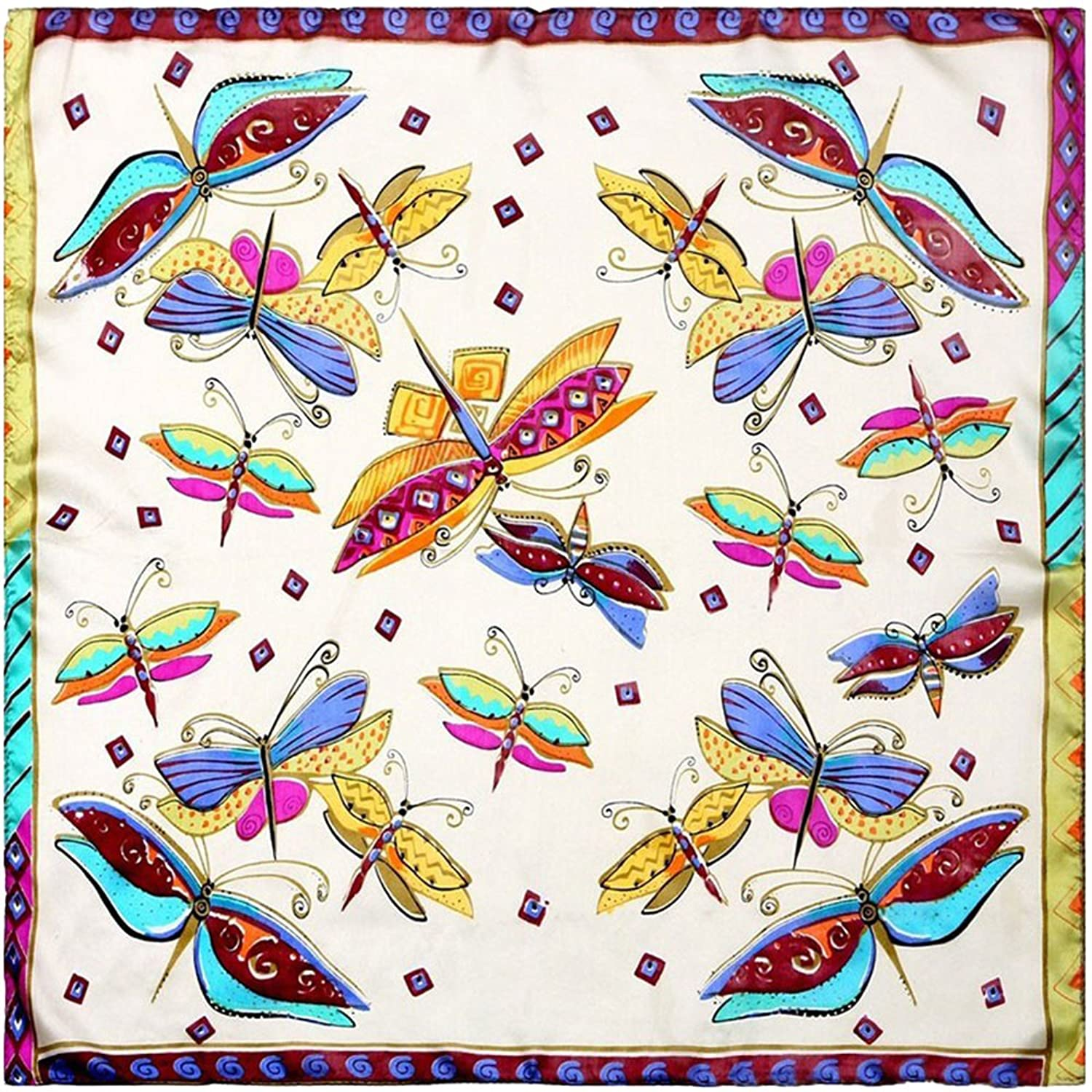 100% Silk Scarf Women Scarf Butterfly Neckerchief Print Small Square Silk Scarf
