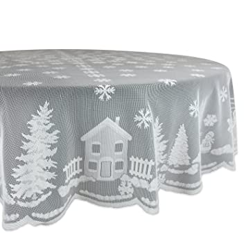 DII 100% Polyester, Machine Washable, Holiday, Snow Village Lace Tablecloth,  70u0026quot