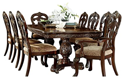 Debroux English Estate 9PC Dining Set Table, 2 Arm, 6 Side Chair In Cherry