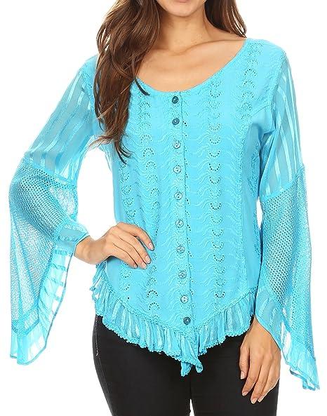Elegante blusa con mangas abiertas y cierre de botones. Opción de colores.
