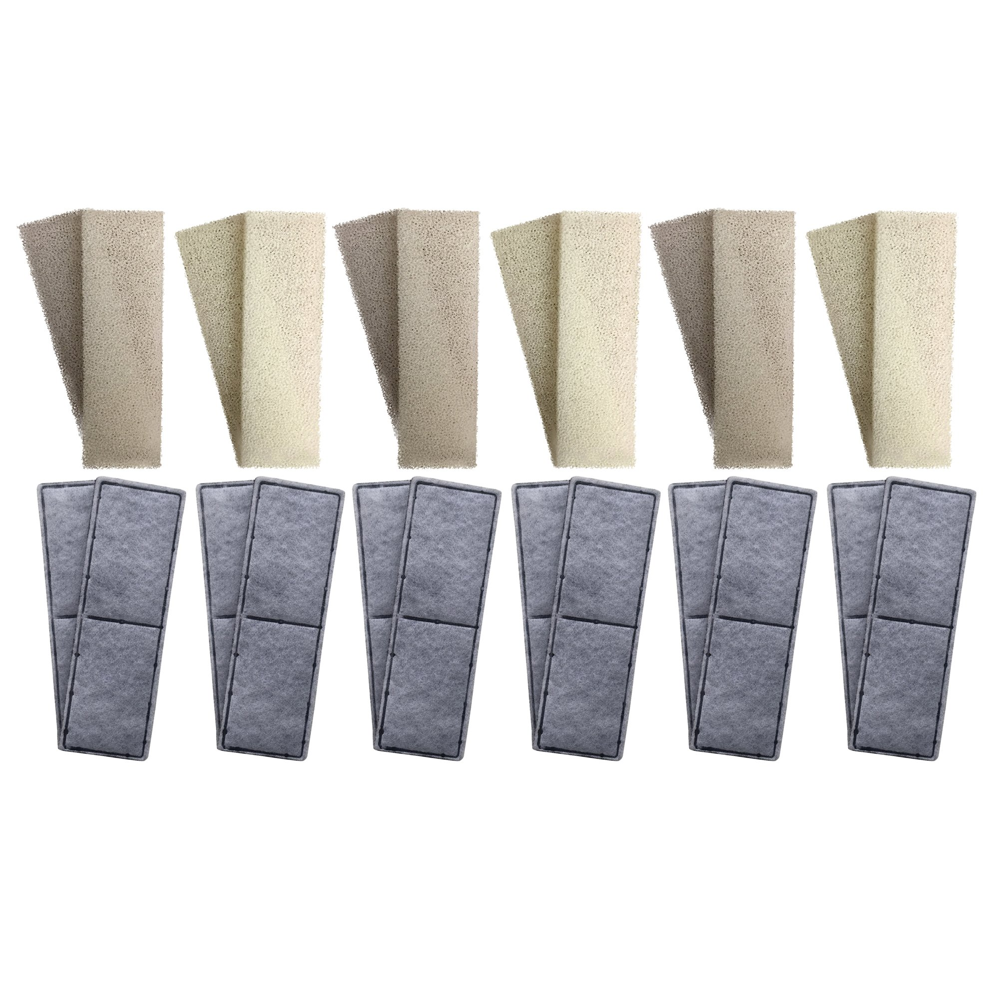 Finest-Filters 12 x Compatible Foam And 12 x Compatible Polycarbon Carbon Filter Cartridges To Fit Fluval U3 Internal