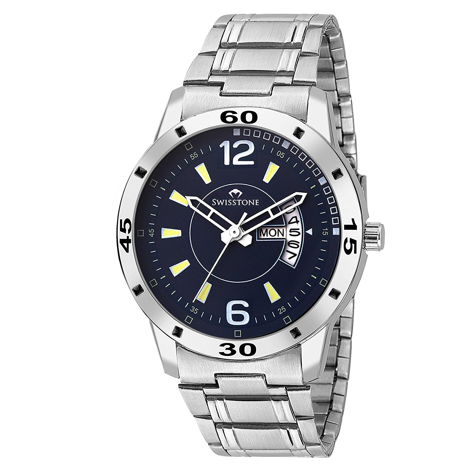 Swisstone G155-BLU Day and Date Display Stainless Steel Chain Wrist Watch for Men