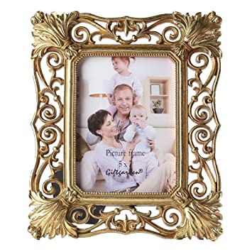 gift garden 5x7 gold picture frame vintage hollow up photo display frames 5 by 7 inch