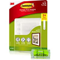 Command Picture Hanging Kit| Damage-Free Strips & Leveler, Value - 24 Pairs & Level| Perfect for Hanging Small & Large…