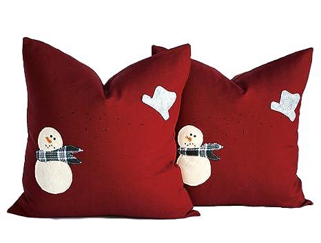 Dos muñeco de nieve fundas de almohada, almohadas de ...