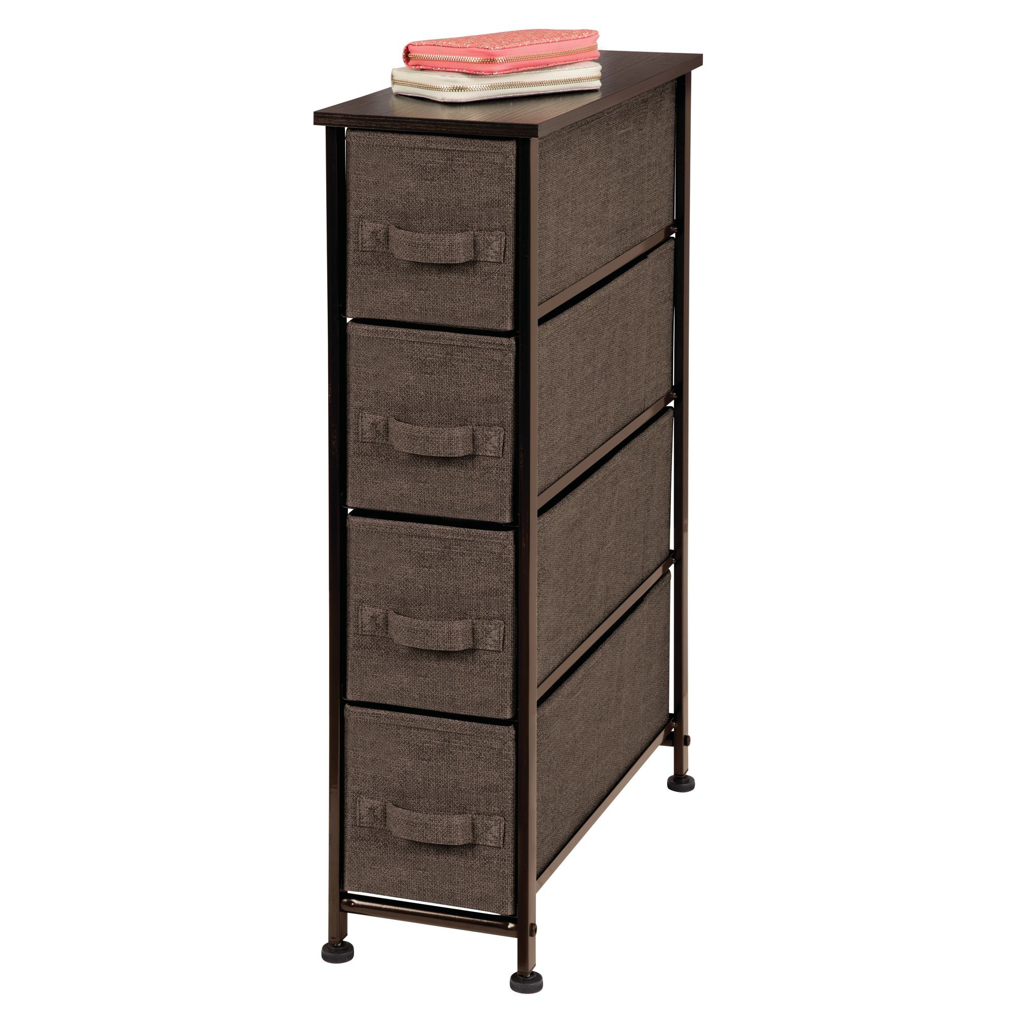 mDesign Narrow Vertical Dresser Storage Tower - Sturdy Steel Frame, Wood Top, Easy Pull Fabric Bins - Organizer Unit for Bedroom, Hallway, Entryway, Closets - Textured Print - 4 Drawers, Espresso