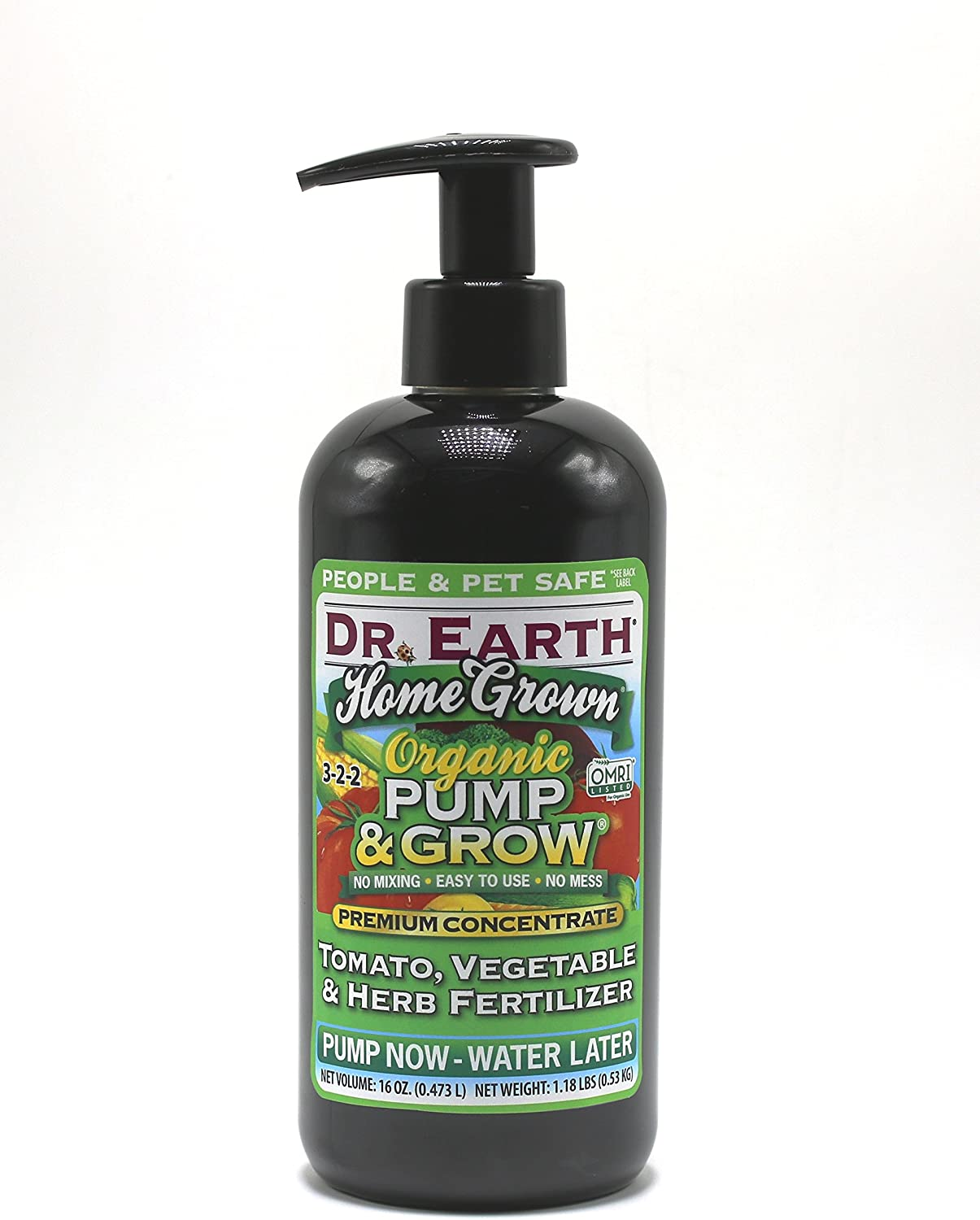 Dr. Earth 1066 Pump & Grow Home Grown Tomato, Vegetable & Herb Fertilizer 8 oz, Green