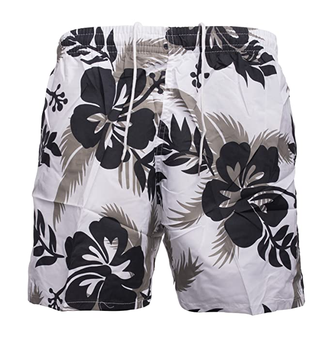 Max Men Herren Badehose Regular Fit · Kurze Bade-Shorts · Floral Flower  Print ·