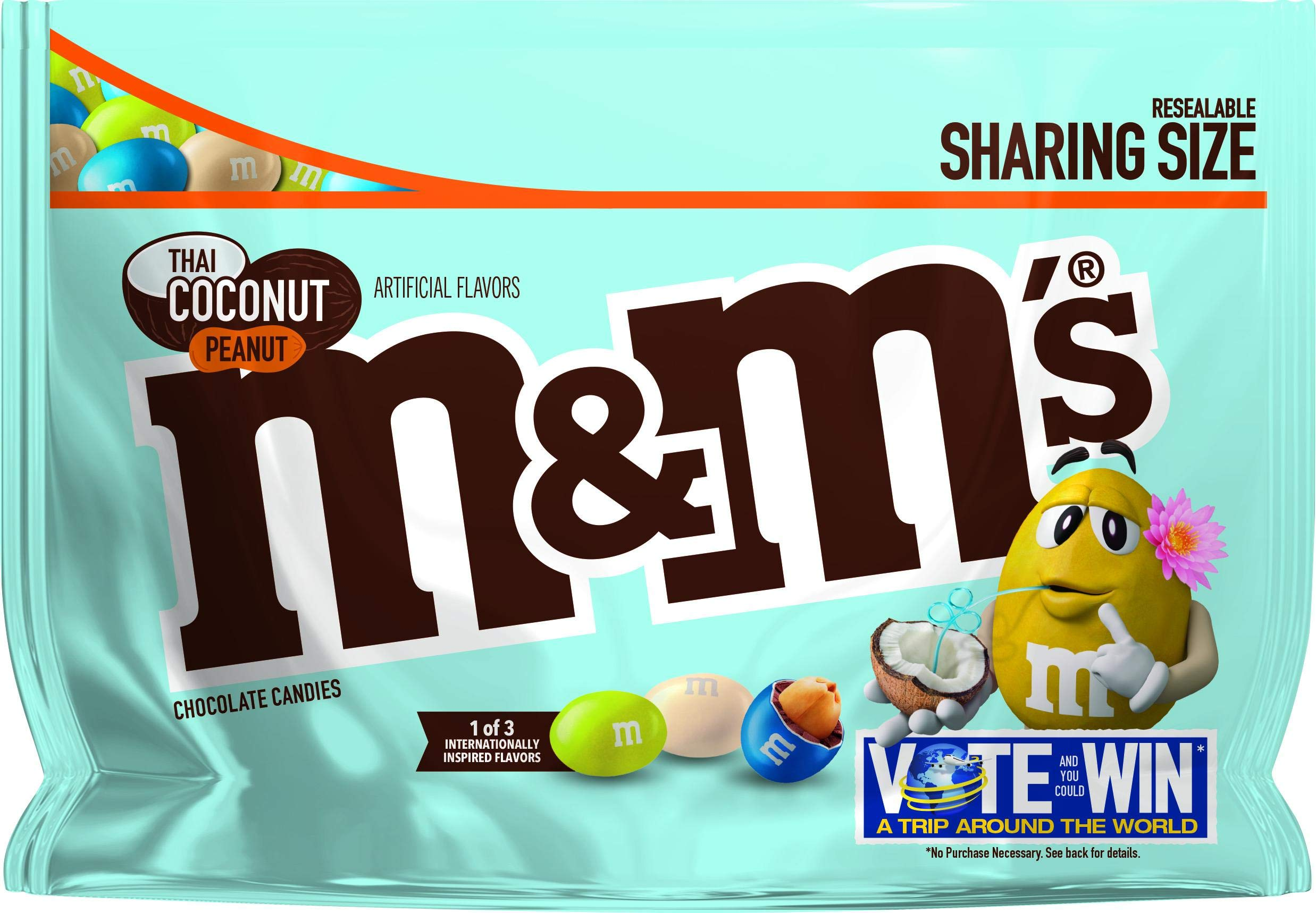 M&M's (Pack of 6) Chocolate Candy Flavor Vote Thai Coconut Peanut Sharing Size, 9.6 Ounce Bag