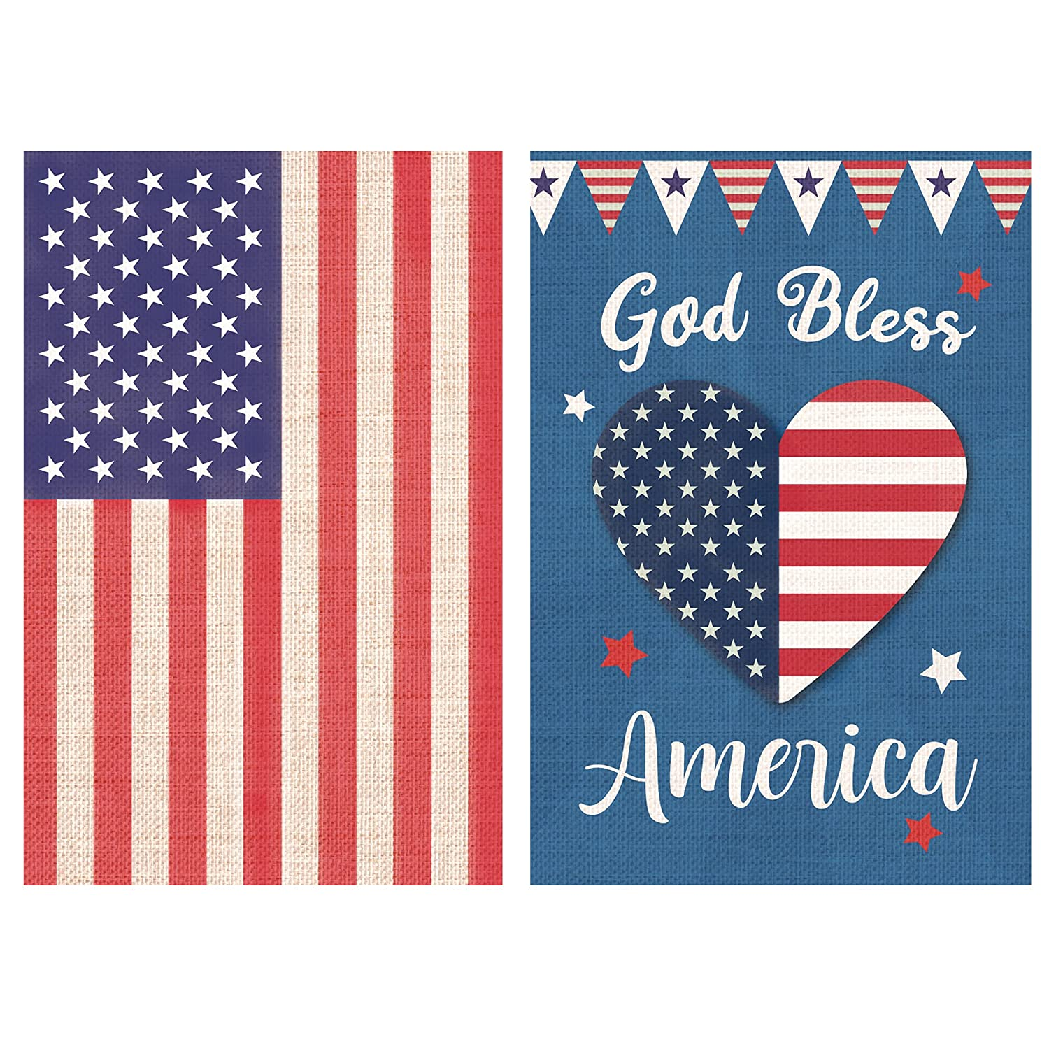 Burlap Patriotic God Bless America 4th of July Star Heart Garden Flag, Independence Day Memorial Day American Garden Flag Set of 2 Outdoor House Yard Decorative Mini Flag 12.5 x 18