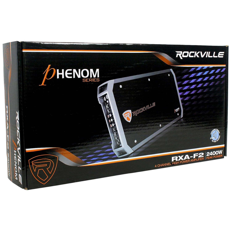 Rockville RXA-F2 2400 Watt Peak//1200w RMS 4 Channel Car Stereo Amplifier+Amp Kit