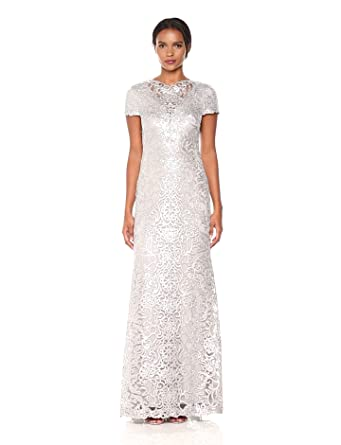 e9e698b2fe760 Tadashi Shoji Women's Short Sleeve Sequin Lace Gown at Amazon ...