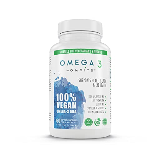 Omvits 100% Vegan Omega 3 DHA Supplement - 60 Algae Oil Capsules with Vitamin E - Sustainable Alternative to Fish Oil - Essential Fatty Acids - GMO Free - Supports Heart, Brain and Eye Health